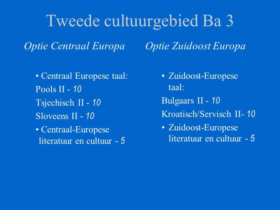 Tweede cultuurgebied Ba 3 Optie Centraal Europa Centraal Europese taal: Pools II - 10 Tsjechisch II - 10 Sloveens II - 10 Centraal-Europese literatuur en cultuur - 5 Optie Zuidoost Europa Zuidoost-Europese taal: Bulgaars II - 10 Kroatisch/Servisch II- 10 Zuidoost-Europese literatuur en cultuur - 5