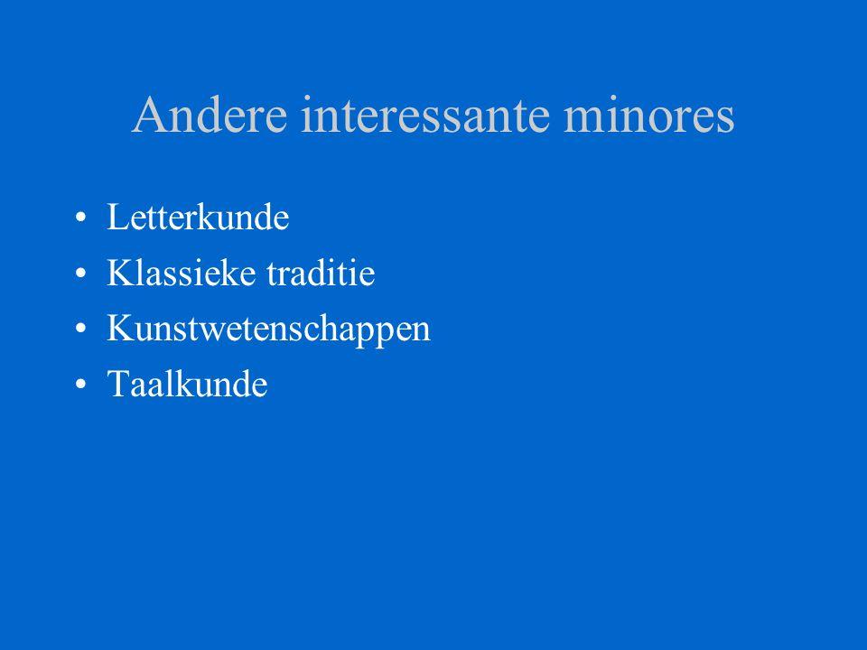 Andere interessante minores Letterkunde Klassieke traditie Kunstwetenschappen Taalkunde