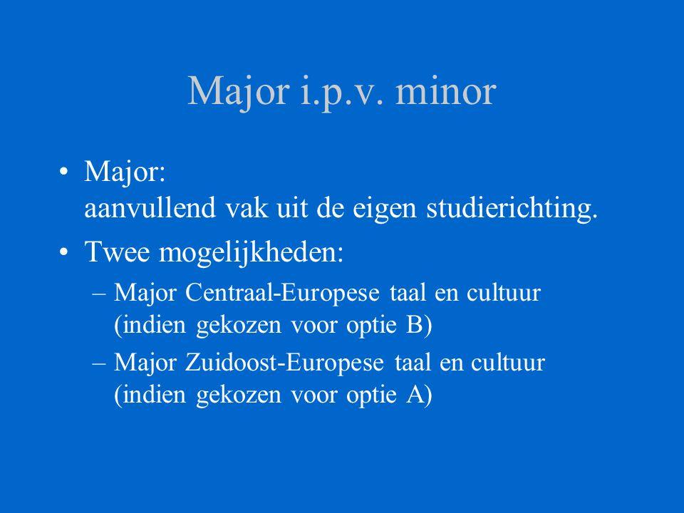 Major i.p.v. minor Major: aanvullend vak uit de eigen studierichting. Twee mogelijkheden: –Major Centraal-Europese taal en cultuur (indien gekozen voo