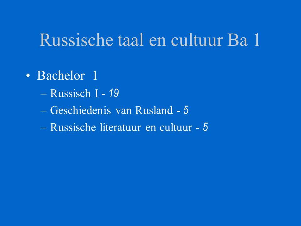Russische taal en cultuur Ba 1-2 –Bachelor 2 Russisch II - 15 Russische literatuur 1 - 5 –Bachelor 1 Russisch I - 19 Geschiedenis van Rusland - 5 Russische literatuur en cultuur - 5