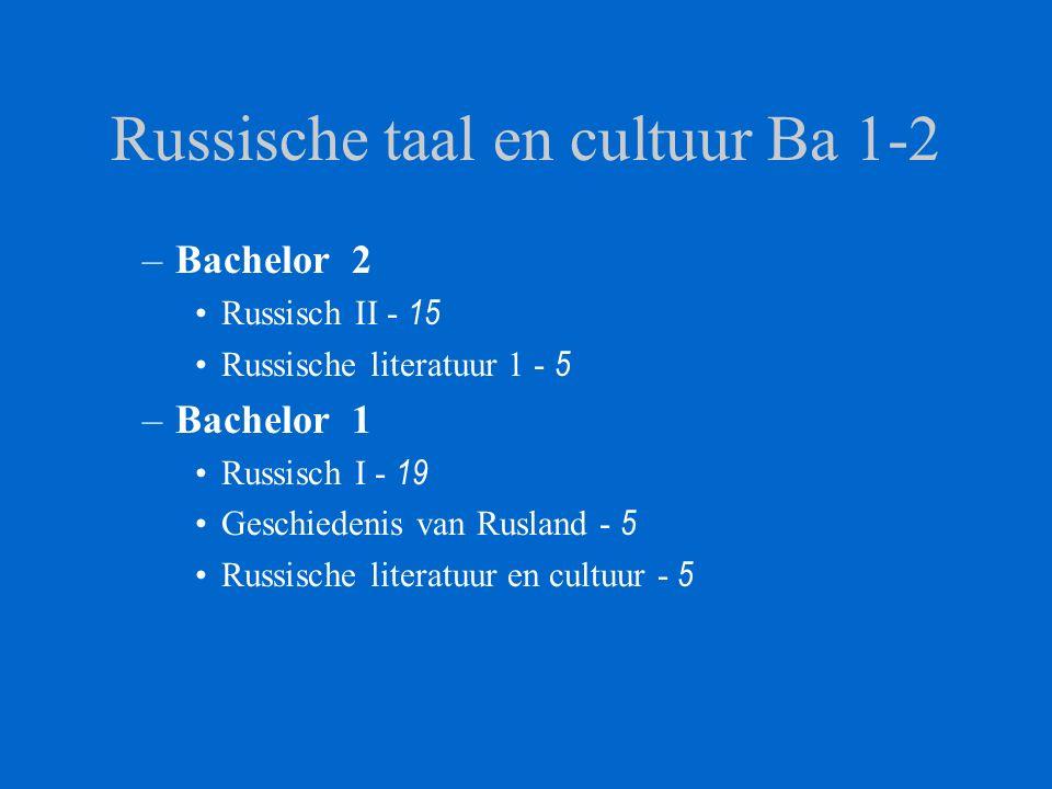 Russische taal en cultuur Ba 1-2 –Bachelor 2 Russisch II - 15 Russische literatuur 1 - 5 –Bachelor 1 Russisch I - 19 Geschiedenis van Rusland - 5 Russ