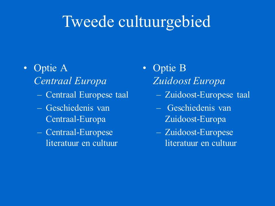 Optie A Centraal Europa –Centraal Europese taal –Geschiedenis van Centraal-Europa –Centraal-Europese literatuur en cultuur Optie B Zuidoost Europa –Zuidoost-Europese taal – Geschiedenis van Zuidoost-Europa –Zuidoost-Europese literatuur en cultuur Tweede cultuurgebied
