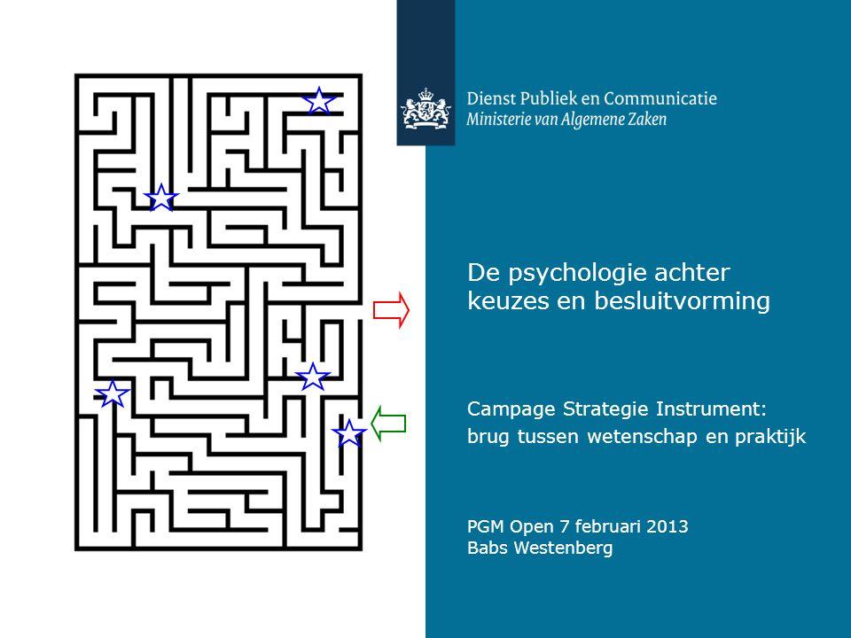 De psychologie achter keuzes en besluitvorming Campage Strategie Instrument: brug tussen wetenschap en praktijk Babs Westenberg PGM Open 7 februari 20