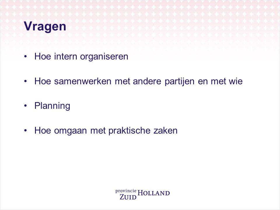 Vragen Hoe intern organiseren Hoe samenwerken met andere partijen en met wie Planning Hoe omgaan met praktische zaken