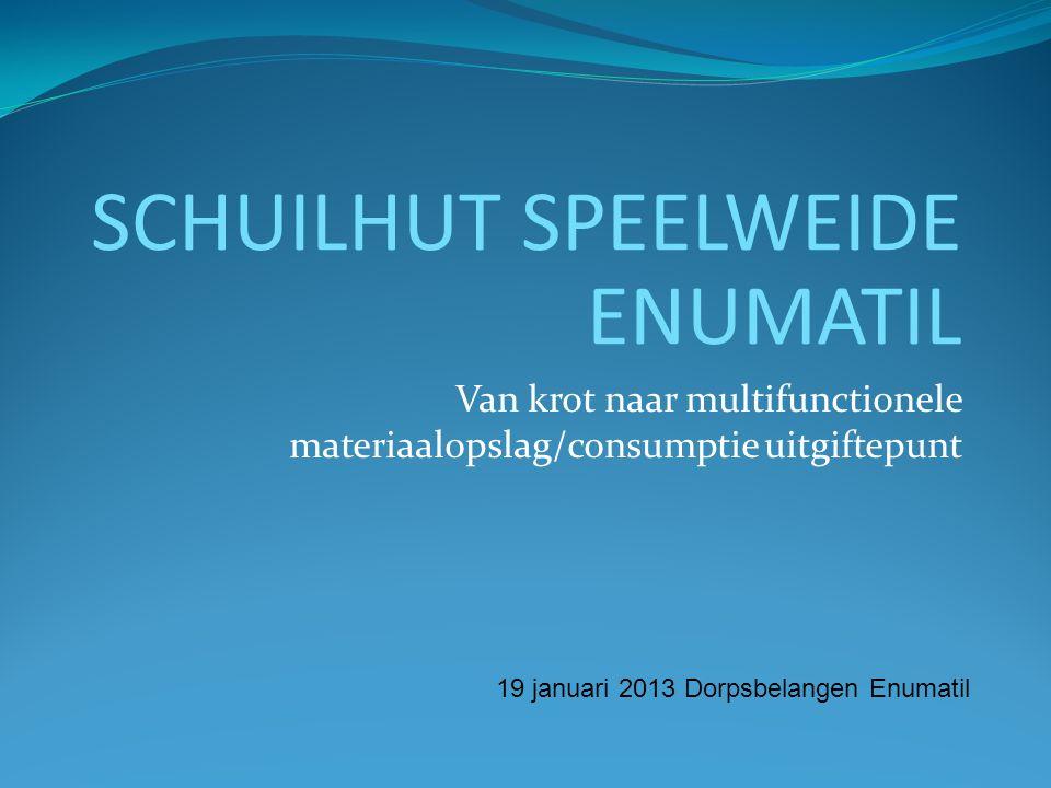 Van krot naar multifunctionele materiaalopslag/consumptie uitgiftepunt SCHUILHUT SPEELWEIDE ENUMATIL 19 januari 2013 Dorpsbelangen Enumatil