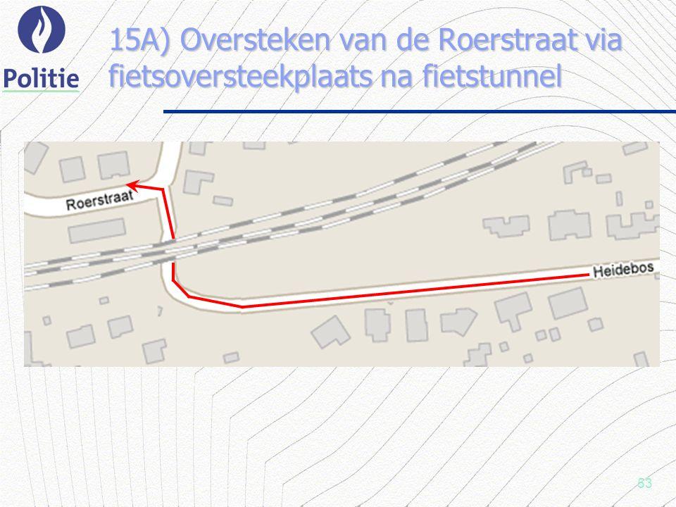 53 15A) Oversteken van de Roerstraat via fietsoversteekplaats na fietstunnel