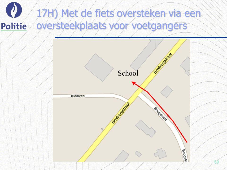 59 17H) Met de fiets oversteken via een oversteekplaats voor voetgangers School
