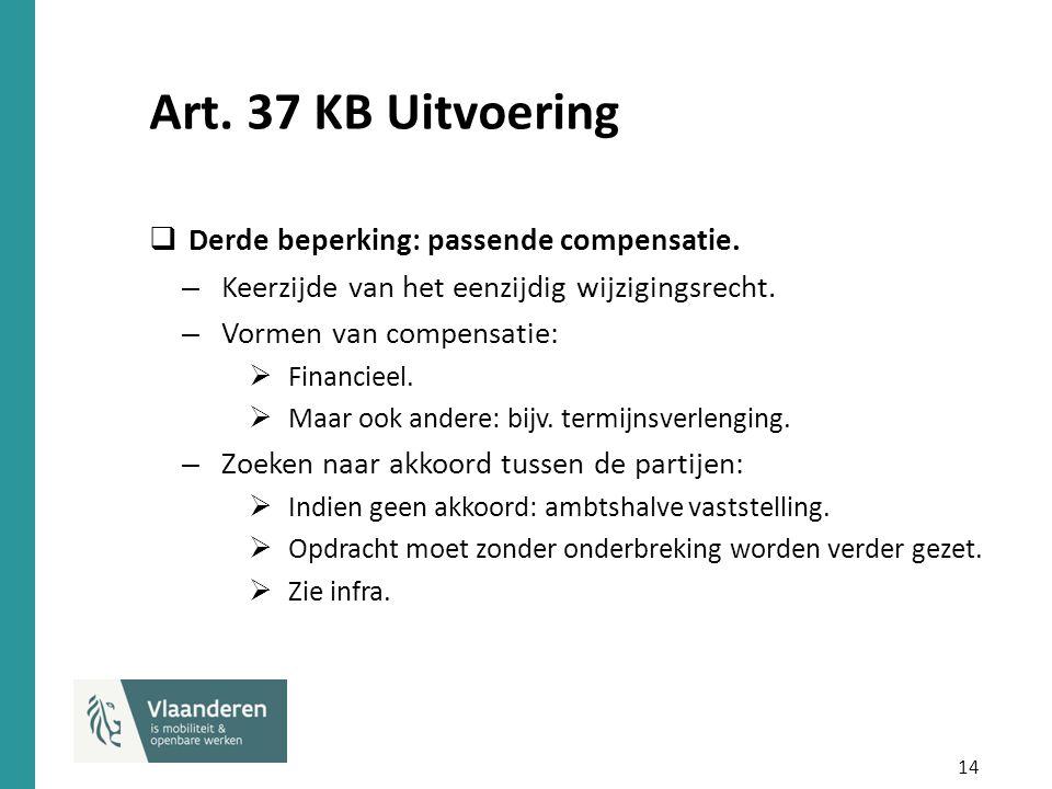 14 Art. 37 KB Uitvoering  Derde beperking: passende compensatie. – Keerzijde van het eenzijdig wijzigingsrecht. – Vormen van compensatie:  Financiee