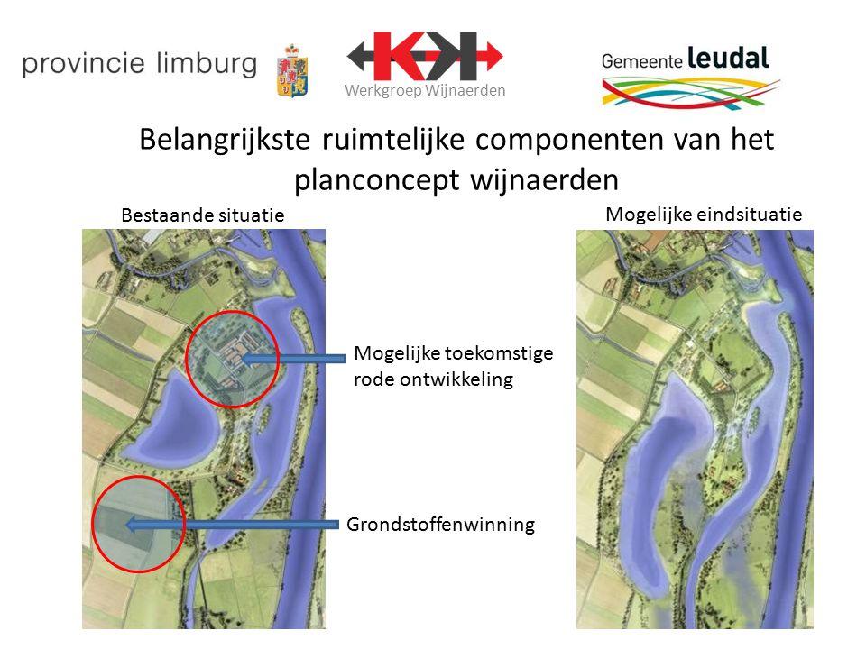 Werkgroep Wijnaerden Belangrijkste ruimtelijke componenten van het planconcept wijnaerden Grondstoffenwinning Mogelijke toekomstige rode ontwikkeling Bestaande situatie Mogelijke eindsituatie