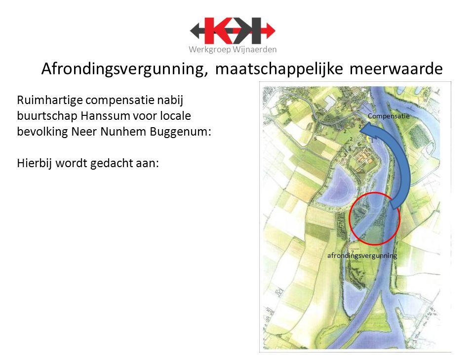 Werkgroep Wijnaerden Afrondingsvergunning, maatschappelijke meerwaarde Ruimhartige compensatie nabij buurtschap Hanssum voor locale bevolking Neer Nun