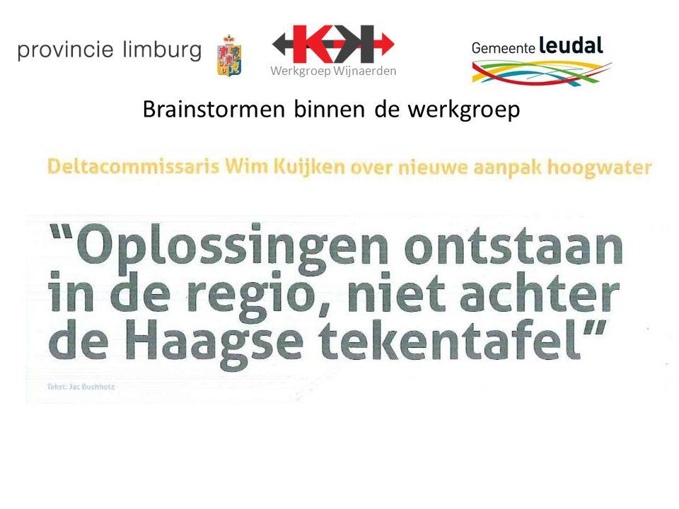 Werkgroep Wijnaerden Brainstormen binnen de werkgroep Bestaande uit Provincie Limburg, Gemeente Leudal en Kuypers Kessel.