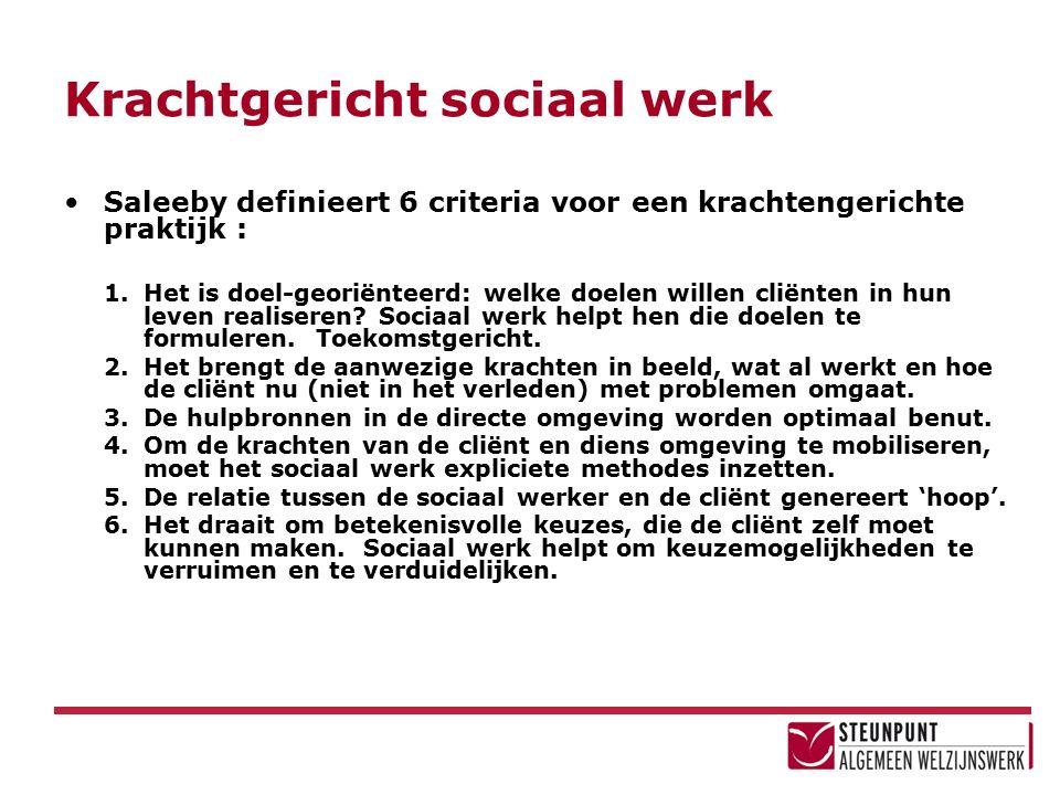 Krachtgericht sociaal werk Saleeby definieert 6 criteria voor een krachtengerichte praktijk : 1.Het is doel-georiënteerd: welke doelen willen cliënten