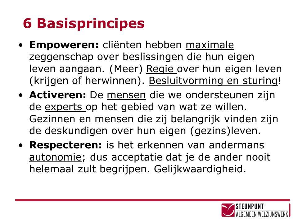 6 Basisprincipes Empoweren: cliënten hebben maximale zeggenschap over beslissingen die hun eigen leven aangaan. (Meer) Regie over hun eigen leven (kri