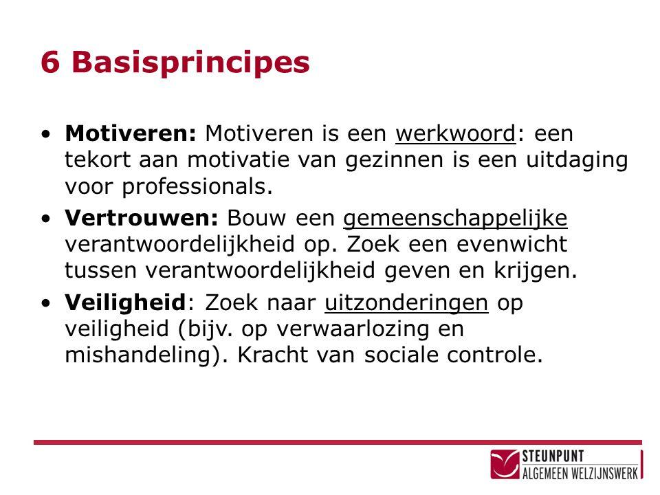 6 Basisprincipes Motiveren: Motiveren is een werkwoord: een tekort aan motivatie van gezinnen is een uitdaging voor professionals. Vertrouwen: Bouw ee