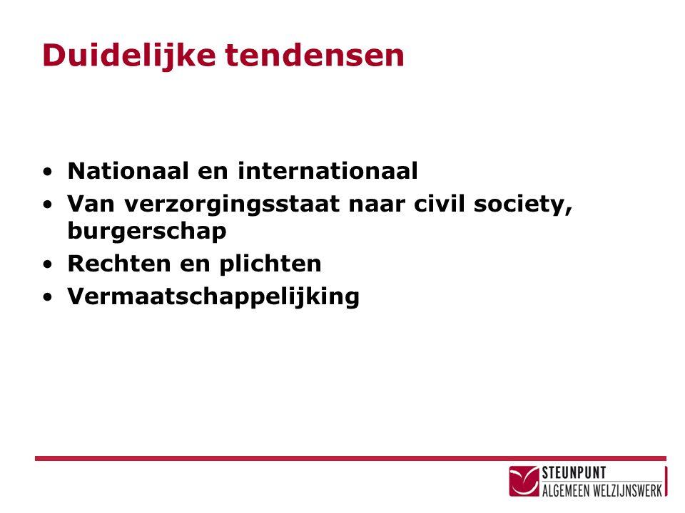 Duidelijke tendensen Nationaal en internationaal Van verzorgingsstaat naar civil society, burgerschap Rechten en plichten Vermaatschappelijking