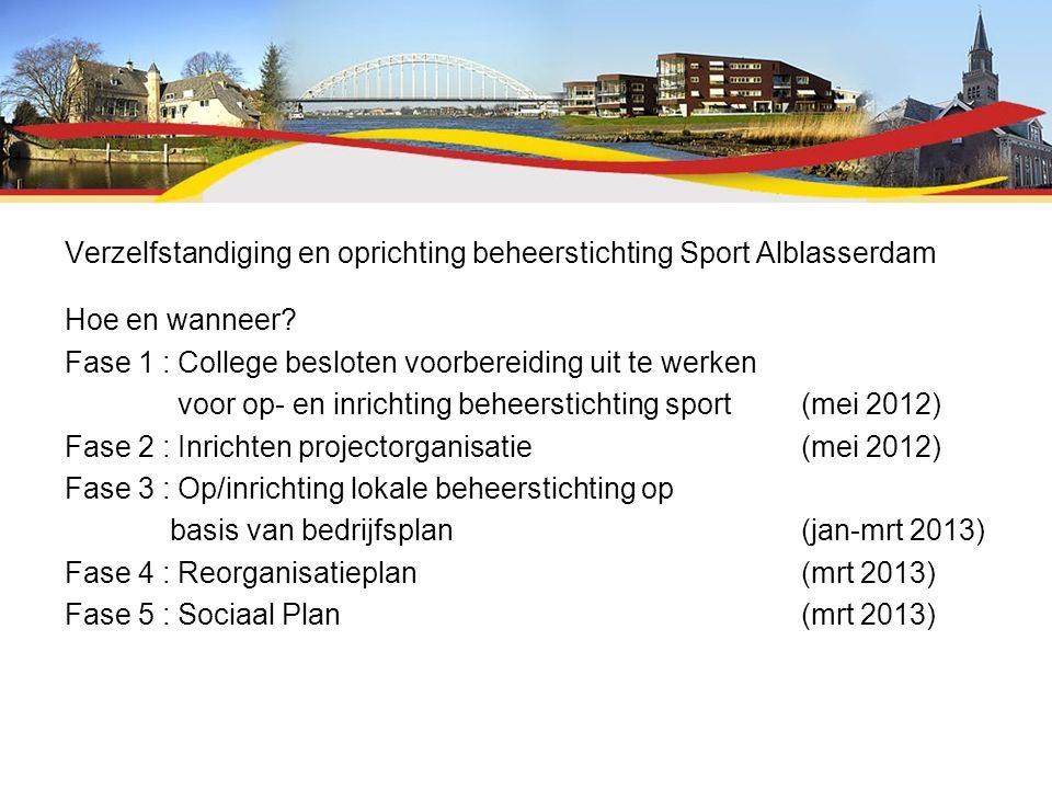 Verzelfstandiging en oprichting beheerstichting Sport Alblasserdam Hoe en wanneer? Fase 1 : College besloten voorbereiding uit te werken voor op- en i