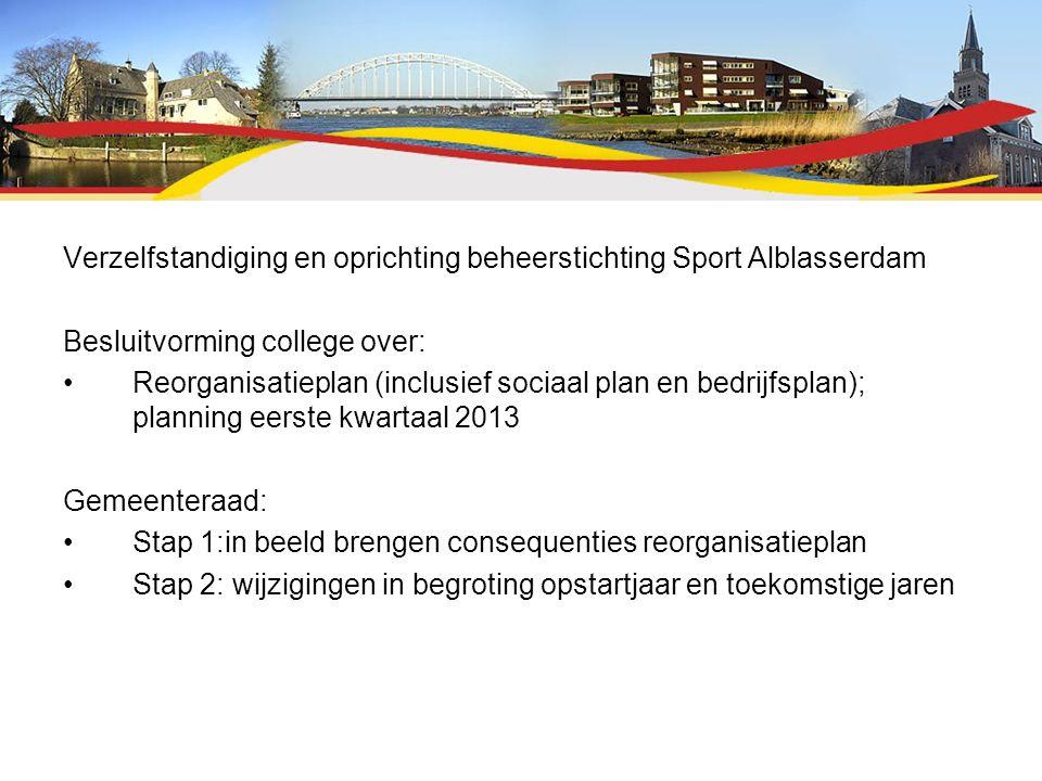 Verzelfstandiging en oprichting beheerstichting Sport Alblasserdam Besluitvorming college over: Reorganisatieplan (inclusief sociaal plan en bedrijfsp