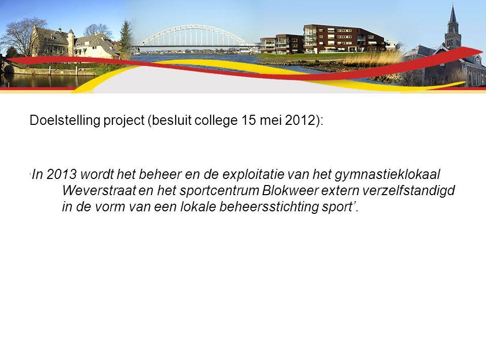 Doelstelling project (besluit college 15 mei 2012): ' In 2013 wordt het beheer en de exploitatie van het gymnastieklokaal Weverstraat en het sportcentrum Blokweer extern verzelfstandigd in de vorm van een lokale beheersstichting sport'.
