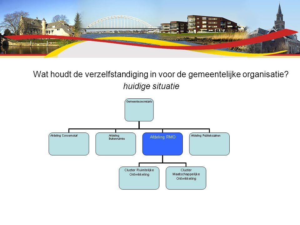 Wat houdt de verzelfstandiging in voor de gemeentelijke organisatie? huidige situatie