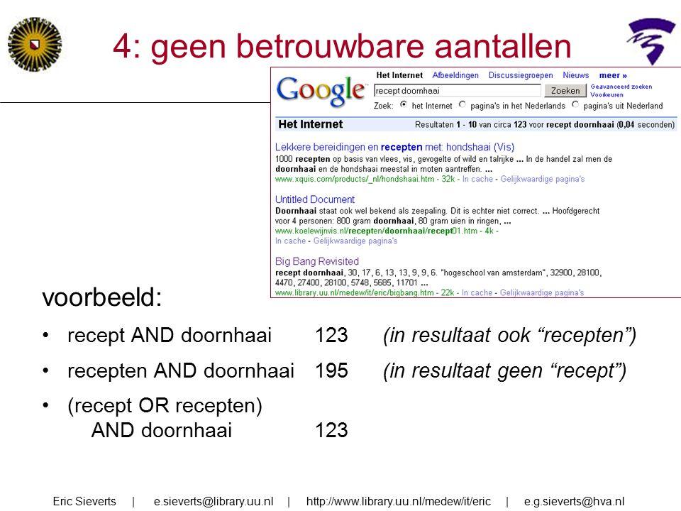 4: geen betrouwbare aantallen voorbeeld: recept AND doornhaai123 (in resultaat ook recepten ) recepten AND doornhaai195(in resultaat geen recept ) (recept OR recepten) AND doornhaai123 Eric Sieverts | e.sieverts@library.uu.nl | http://www.library.uu.nl/medew/it/eric | e.g.sieverts@hva.nl