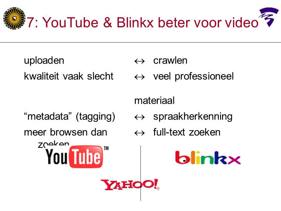uploaden  crawlen kwaliteit vaak slecht  veel professioneel materiaal metadata (tagging)  spraakherkenning meer browsen dan  full-text zoeken zoeken 7: YouTube & Blinkx beter voor video