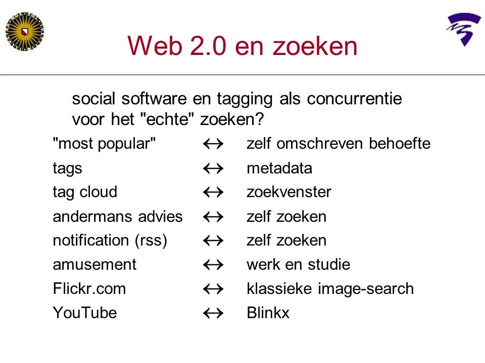 Web 2.0 en zoeken social software en tagging als concurrentie voor het echte zoeken.