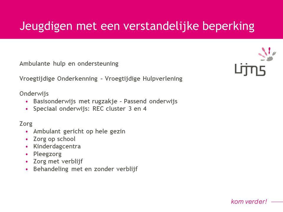 Jeugdigen met een verstandelijke beperking Verstandelijke gehandicaptenzorg: Vereniging Gehandicaptenzorg Nederland (VGN) Vereniging Orthopedagogische Behandelcentra (VOBC)