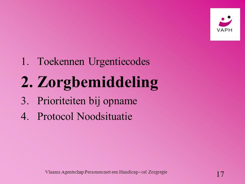Vlaams Agentschap Personen met een Handicap - cel Zorgregie 17 1.Toekennen Urgentiecodes 2.Zorgbemiddeling 3.Prioriteiten bij opname 4.Protocol Noodsituatie