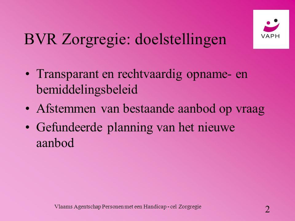 Vlaams Agentschap Personen met een Handicap - cel Zorgregie 2 BVR Zorgregie: doelstellingen Transparant en rechtvaardig opname- en bemiddelingsbeleid Afstemmen van bestaande aanbod op vraag Gefundeerde planning van het nieuwe aanbod