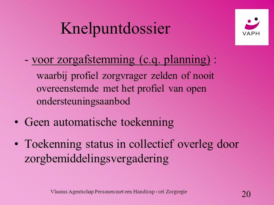 Vlaams Agentschap Personen met een Handicap - cel Zorgregie 20 Knelpuntdossier - voor zorgafstemming (c.q.