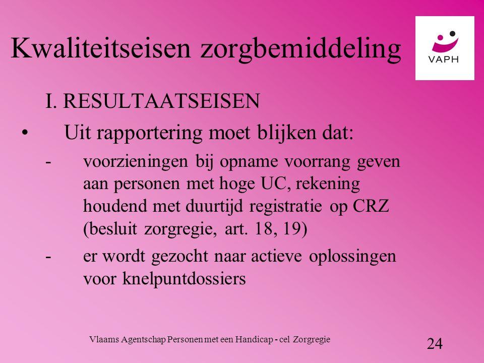 Vlaams Agentschap Personen met een Handicap - cel Zorgregie 24 Kwaliteitseisen zorgbemiddeling I.