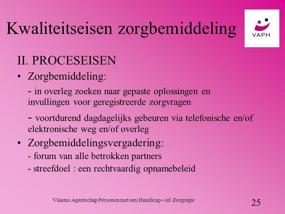 Vlaams Agentschap Personen met een Handicap - cel Zorgregie 25 Kwaliteitseisen zorgbemiddeling II.