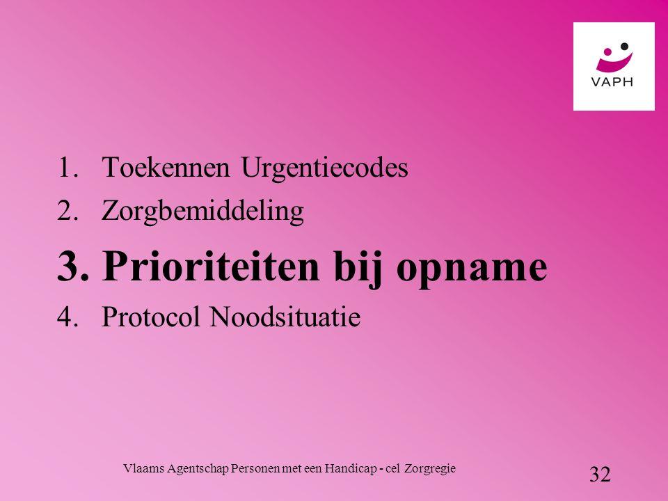 Vlaams Agentschap Personen met een Handicap - cel Zorgregie 32 1.Toekennen Urgentiecodes 2.Zorgbemiddeling 3.Prioriteiten bij opname 4.Protocol Noodsituatie