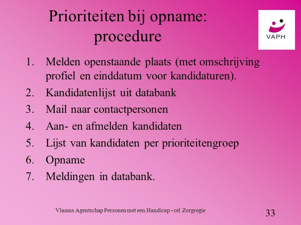 Vlaams Agentschap Personen met een Handicap - cel Zorgregie 33 Prioriteiten bij opname: procedure 1.Melden openstaande plaats (met omschrijving profiel en einddatum voor kandidaturen).