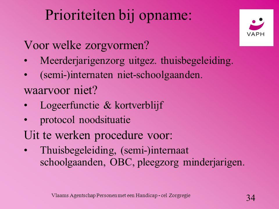 Vlaams Agentschap Personen met een Handicap - cel Zorgregie 34 Prioriteiten bij opname: Voor welke zorgvormen.