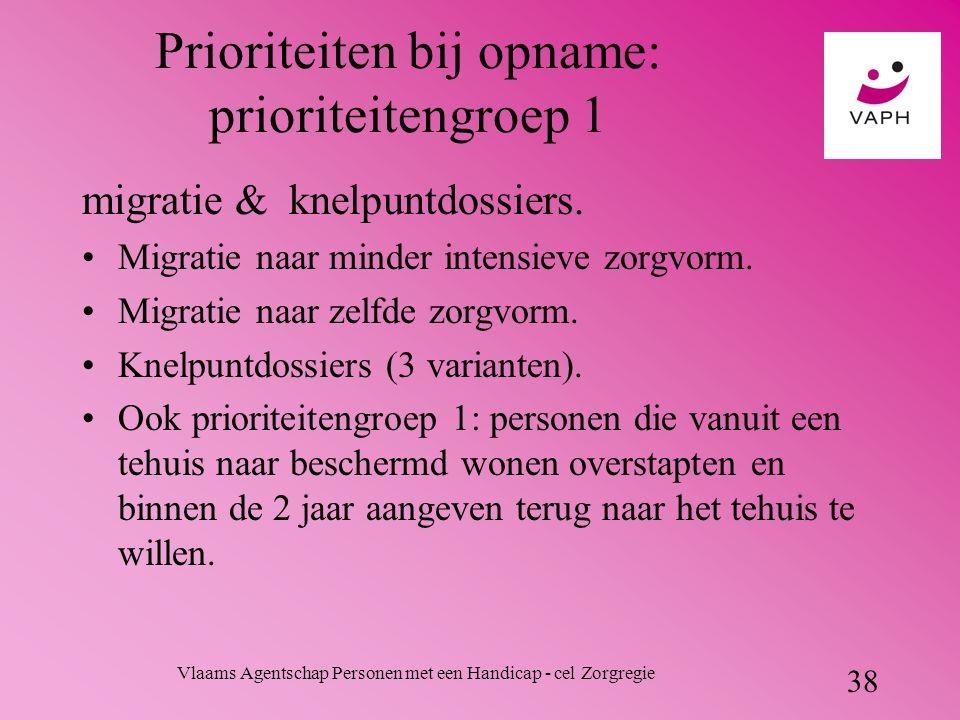 Vlaams Agentschap Personen met een Handicap - cel Zorgregie 38 Prioriteiten bij opname: prioriteitengroep 1 migratie & knelpuntdossiers.