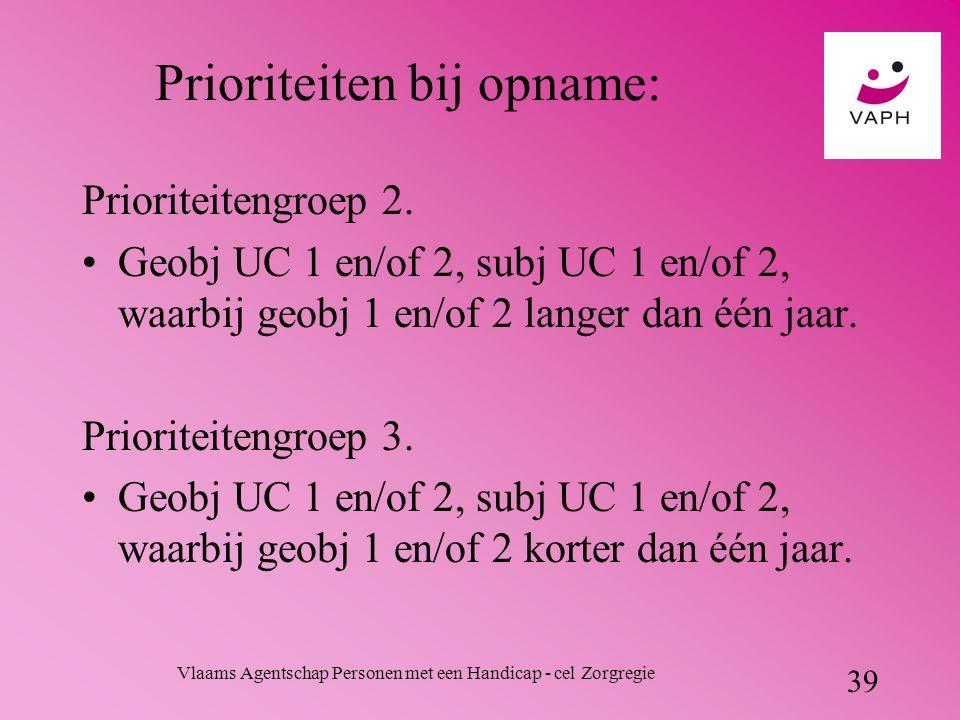 Vlaams Agentschap Personen met een Handicap - cel Zorgregie 39 Prioriteiten bij opname: Prioriteitengroep 2.