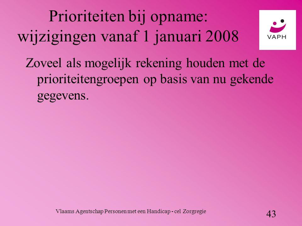 Vlaams Agentschap Personen met een Handicap - cel Zorgregie 43 Prioriteiten bij opname: wijzigingen vanaf 1 januari 2008 Zoveel als mogelijk rekening houden met de prioriteitengroepen op basis van nu gekende gegevens.