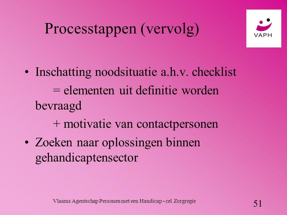 Vlaams Agentschap Personen met een Handicap - cel Zorgregie 51 Processtappen (vervolg) Inschatting noodsituatie a.h.v.