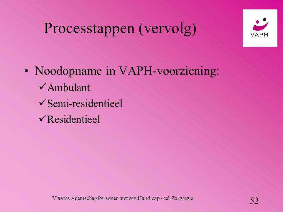 Vlaams Agentschap Personen met een Handicap - cel Zorgregie 52 Processtappen (vervolg) Noodopname in VAPH-voorziening: Ambulant Semi-residentieel Residentieel