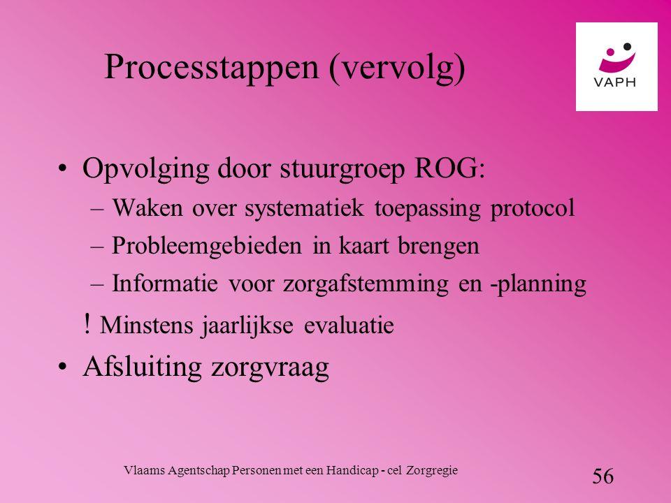 Vlaams Agentschap Personen met een Handicap - cel Zorgregie 56 Processtappen (vervolg) Opvolging door stuurgroep ROG: –Waken over systematiek toepassing protocol –Probleemgebieden in kaart brengen –Informatie voor zorgafstemming en -planning .