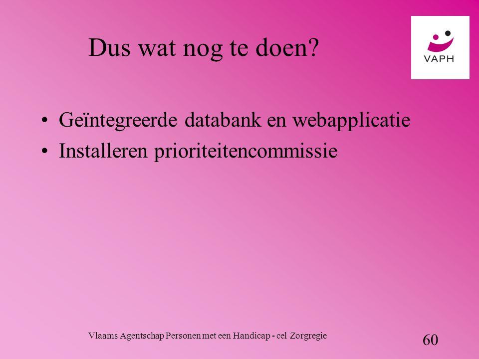 Vlaams Agentschap Personen met een Handicap - cel Zorgregie 60 Dus wat nog te doen.
