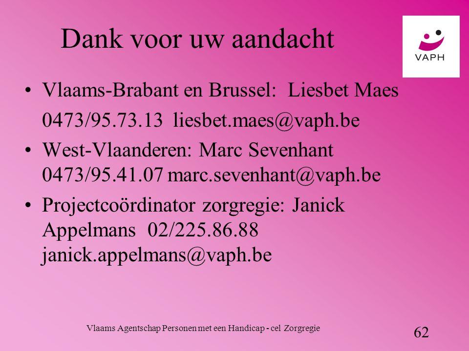 Vlaams Agentschap Personen met een Handicap - cel Zorgregie 62 Dank voor uw aandacht Vlaams-Brabant en Brussel: Liesbet Maes 0473/95.73.13 liesbet.maes@vaph.be West-Vlaanderen: Marc Sevenhant 0473/95.41.07 marc.sevenhant@vaph.be Projectcoördinator zorgregie: Janick Appelmans 02/225.86.88 janick.appelmans@vaph.be