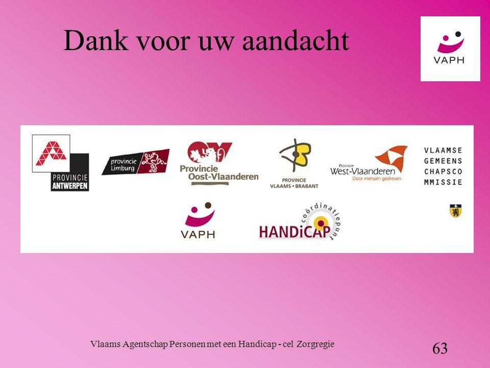 Vlaams Agentschap Personen met een Handicap - cel Zorgregie 63 Dank voor uw aandacht