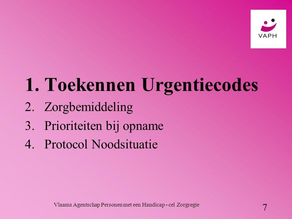 Vlaams Agentschap Personen met een Handicap - cel Zorgregie 7 1.Toekennen Urgentiecodes 2.Zorgbemiddeling 3.Prioriteiten bij opname 4.Protocol Noodsituatie
