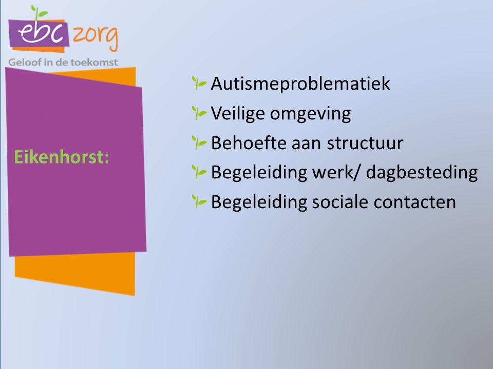 Eikenhorst: Autismeproblematiek Veilige omgeving Behoefte aan structuur Begeleiding werk/ dagbesteding Begeleiding sociale contacten