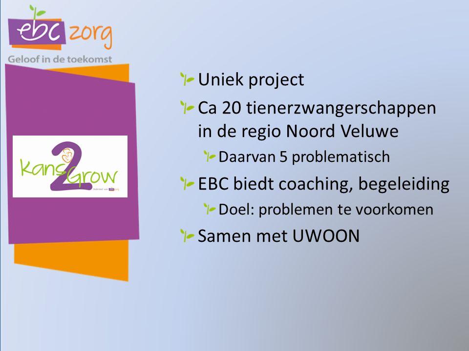 Uniek project Ca 20 tienerzwangerschappen in de regio Noord Veluwe Daarvan 5 problematisch EBC biedt coaching, begeleiding Doel: problemen te voorkomen Samen met UWOON