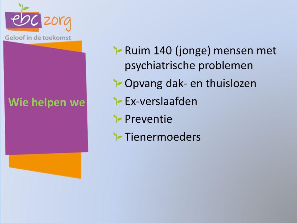 Wie helpen we Ruim 140 (jonge) mensen met psychiatrische problemen Opvang dak- en thuislozen Ex-verslaafden Preventie Tienermoeders