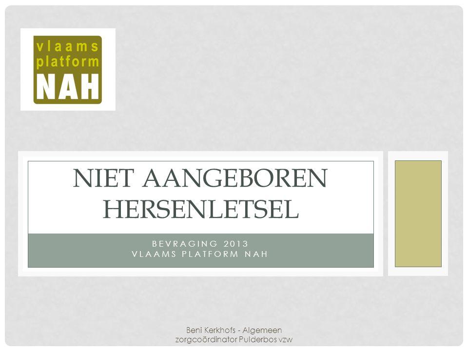 BEVRAGING 2013 VLAAMS PLATFORM NAH NIET AANGEBOREN HERSENLETSEL Beni Kerkhofs - Algemeen zorgcoördinator Pulderbos vzw
