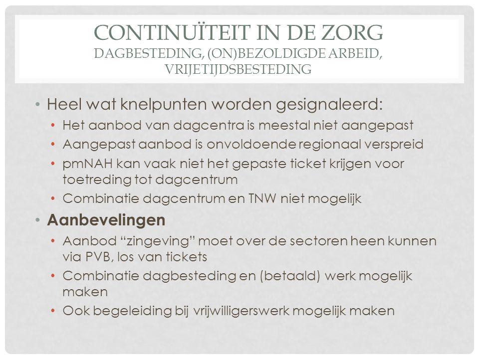 CONTINUÏTEIT IN DE ZORG DAGBESTEDING, (ON)BEZOLDIGDE ARBEID, VRIJETIJDSBESTEDING Heel wat knelpunten worden gesignaleerd: Het aanbod van dagcentra is meestal niet aangepast Aangepast aanbod is onvoldoende regionaal verspreid pmNAH kan vaak niet het gepaste ticket krijgen voor toetreding tot dagcentrum Combinatie dagcentrum en TNW niet mogelijk Aanbevelingen Aanbod zingeving moet over de sectoren heen kunnen via PVB, los van tickets Combinatie dagbesteding en (betaald) werk mogelijk maken Ook begeleiding bij vrijwilligerswerk mogelijk maken